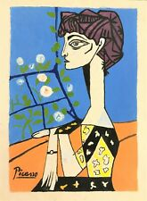 PABLO PICASSO HAND DRAWN AND SIGNED * JACQUELINE WITH FLOWERS *  PAINT ON PAPER