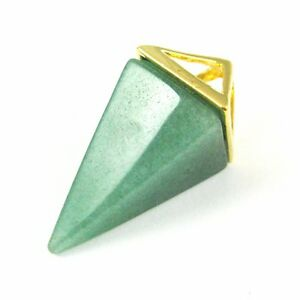 Natural Gemstone Pyramid Pendant, Point Spike Pendant, Gold plated brass Pendant