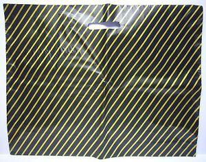 """BLACK / GOLD STRIPE LARGE CARRIER BAG 22"""" x 18""""  PACK 100"""