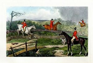 FOX HUNTING WITH HORSES AND FOX HOUNDS ANTIQUE SPORTING SCENE PRINT FOX HUNT