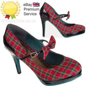 Banned Dorothy Retro Plaid Tartan Scottish Check 50s Red Patent Black Shoes