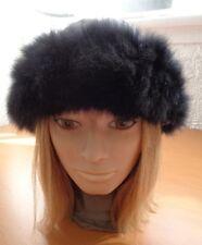 Excellent Opossum Fur Hat Cap W/ Gray Cloth Top Woman Women All