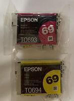 2 New Genuine EPSON 69 Ink Cartridges Magenta Yellow