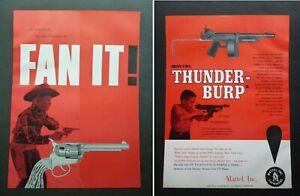RARE Vtg 1957 DEALER Ad - Mattel Fanner 50 Cap Pistol & Thunder-Burp Machine Gun