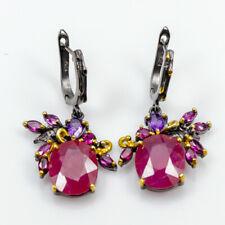 Handmade Natural Ruby 925 Sterling Silver Earrings /E27931