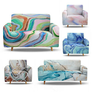 Marbling Sofa Cover Stretch Couch Cover Sofa Slipcovers for 1 2 3 4 Seater Sofa