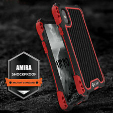 R-just Shockproof Protective Metal Carbon Fiber Armor Case Cover For iPhone X 8
