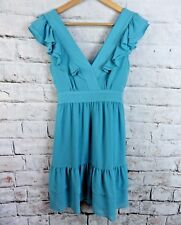 "MONSOON fusion lined dress 10 bust 34"" blue pleated tiered ruffles v neck floaty"