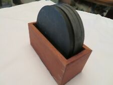 Set 4 Harpswell House 300 Million Year Old Slate Coasters Ripple Surface /w Box