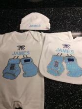 6707b4459d6b Romany Spanish Personalised Baby Boys  Gift Set White Sleepsuit Hat Bib