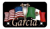 "Mexican USA Unity Flag Decal Bumper Sticker Personalize Name-Text 3.5"" x 6"""