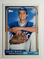 1992 Topps Brent Mayne Auto Autograph Card Royals Signed #183
