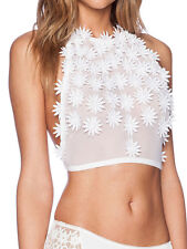 For Love & Lemons Secret Garden White Flower Daisy Sport Bra Top S M L New