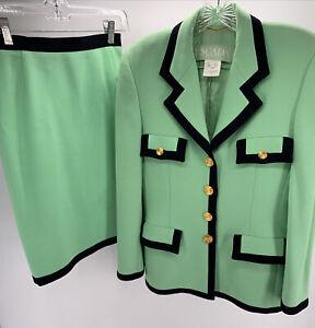 ESCADA 2 Piece Suit (Skirt/Jacket) Set Green W/Navy Blue Trim Gold Tone Buttons