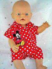 """Dolls clothes  for 17"""" Baby Born doll~ MICKEY MOUSE RED/WHITE SPOT PYJAMAS"""