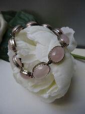 Vintage Deco Stunning Rose Quartz Cabochon Bracelet Hallmarked Sterling Silver