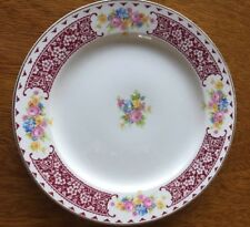 Vintage Lunch Plate Homer Laughlin Piccadilly TEMP PICA Burgundy & Floral Trim