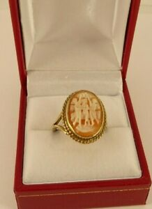 Antique cameo earrings in solid gold 9ct from 70s