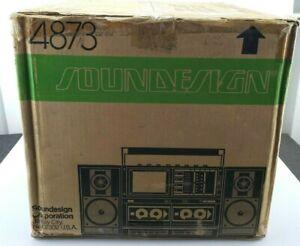 Vintage 1987 Soundesign 4873 Boom Box Boombox Radio W/ B&W TV Dual Cassette EQ