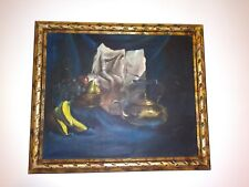 Still Life Acrylic On Canvas paint Antique Gold Gilt Frame. Artist Signed. 28x24