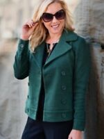 Cabi Womens Size Small Green Knit Peacoat 3159 Long Sleeve Pockets