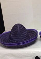 1 Kids Toys Mexican Sombrero Straw Hat Birthday Party Fiesta Supplies Purple