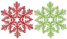 Christmas Decoration Hanging Glitter Snowflake 27cm - Red OR Green