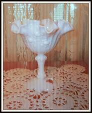 "Authentic Fenton Milk Glass Dish Handmade 6-1/2"" Tall"