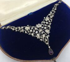 Antique Victorian Stunning Original Boxed Necklace Silver White Purple Stones