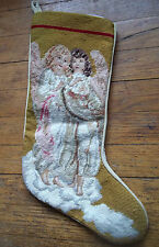 ANGELS shabby fairies CHERUBS pink GOLD CHRISTMAS  NEEDLEPOINT mantle STOCKING