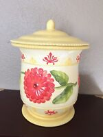 Vintage Large Floral Nonni's  Cookie Jar Handmade Embossed Canister China