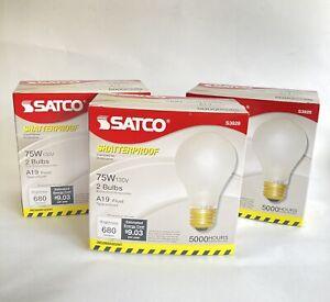 6 Bulbs Satco S3928 75 Watt Shatterproof Safety Coated Rough Service Light Bulbs