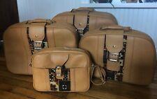 4 Piece Faux Leather Suitcase Tan Luggage Set Zipper Buckle Shoulder Bag Vintage