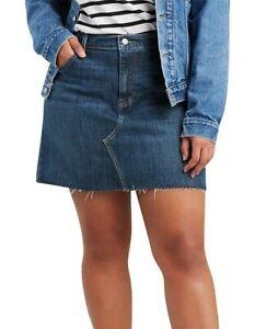 LEVIS DECONSTRUCTED WOMEN'S SKIRT SIZE 22 STRETCH RAW HEM BLUE NWT RRP $79.95