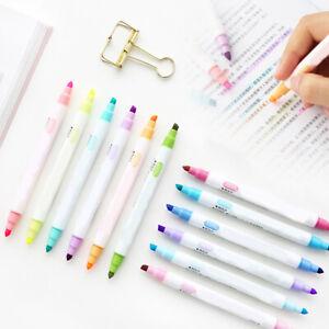 12Pcs Marker Pens Milk liner Headed Fluorescent Pen Art Highlighter Drawing zh