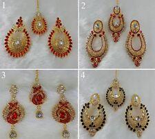4 Pair Earrings & Tikka Gold Plated Partywear Zerconic Kundan Jhumka Style ETL6