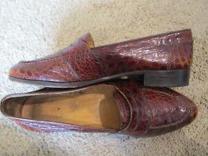 RALPH LAUREN brown crocodile gator penny loafers  dress shoes sz 9.5