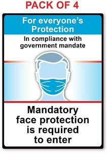 4 - MANDATORY FACE MASK REQUIRED TO ENTER STICKER - Store Business Decal Sign