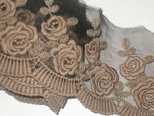 """2 yards 4"""" width dark brown color non stretch cotton & tulle lace floral trim"""