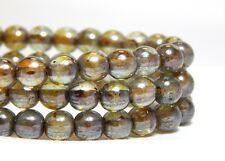 50 6mm Green Luster Beads Glass Round Shiny Rustic High Quality Czech T-21C