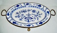 "G.M.T.&Bro.~ Antique Oval 18"" WARMING PLATTER (Meissen-Blue Onion & Brass) ~ GER"