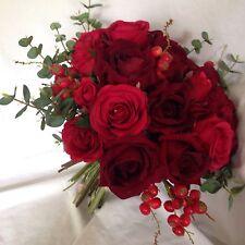MADE to Order artificiale fiore nozze sposa BOUQUET RED ROSE RUSTICO Inverno