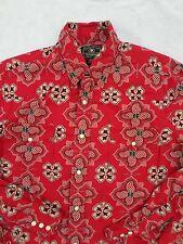 LUCKY BRAND rare unique red bandana pearl snap cowboy shirt MEDIUM