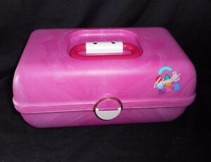 VINTAGE PINK CABOODLES MAKEUP / NAIL COSMETIC ORGANIZER CARRYING CASE W/ MIRROR