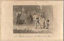 Stampa antica GIOCHI DI BAMBINI il gatto e il topo 1839 Old antique print