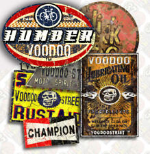 Vintage cycle Autocollant Pack par Voodoo Street ™, Custom, huileux Rag, Humber, handmade