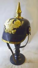 More details for pickelhaube 1915 superb quality leather with metal fittings with stand retro