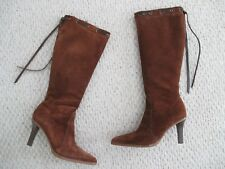 Coach Bella Brushed Suede Leather Boots Size 10 Whisky Brown
