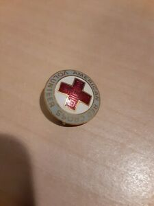 Vintage American Red Cross ARC Pin Round VOLUNTEER Gray/Silver White Red