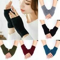 Women Winter Cashmere Fingerless Gloves Stretchy Hand Wrist Warmer Mittens-RO